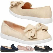 Haylen Womens Low Heel Flatform Slip On Loafers Ladies Bow Ribbon Shoes Size New