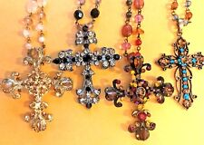 *NEW Genuine Austrian Crystal Cross Beaded Pendant Necklace Woman Jewelry Gift