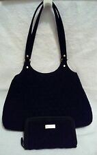 Vera Bradley BLACK QUILTED MICROFIBER PURSE