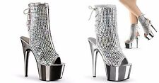 PLEASER Adore-1018DCS Silver Rhinestones Club Chrome Platforms Calf Boots Heels