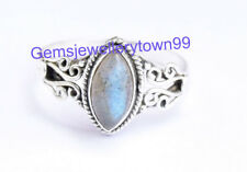 925 Sterling Silver Gray Blue Labradorite Ring Gemstone Ring All Size R9LB