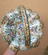 SIGNED Large Hand Painted Portuguese Pottery Basket C1932 Portugal