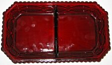 Vintage Avon Ruby Red Glass Condiment Divided Dish Relish Tray Embossed.