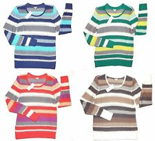 Sonoma Womens Size L XL Blue Beige Green or Coral Striped Scoop Sweater New $40