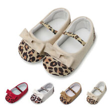 Toddler Infant Baby Girl Leopard Bow Crib Shoes Soft Sole Anti-slip Single Shoes