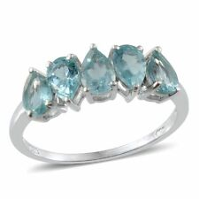 Madagascar Paraiba APATITE Pear Band Style RING in Plat / Sterling Silver 2.20Ct