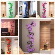 3D DIY Flower Beautiful Mirror Wall Decals Stickers Art Home Room Vinyl Decor US