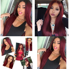 Women Cosplay Wine Red Long Straight Hair Synthetic Full Wig + Cap Natural Party