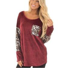 Women's Comfy Scoop Neck Paillette Leopard Stitching Long Sleeve Shirt Top Tee