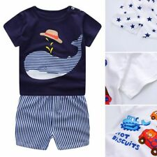 Kids Baby Girls Boys Short Sleeve T-shirt+Shorts Pants Outfit Summer Clothes Set