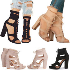 Women Ladies Ankle Strappy Lace Up Block Hight Heel Peep Toe Sandals Shoes Size