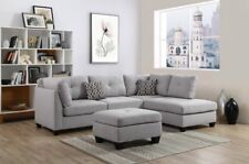 Oadeer Home D6605 Sectional Faux Leather Sofa Set Ottoman Right Facing Chaise