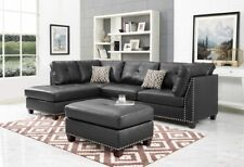 Oadeer Home D6601 Sectional Faux Leather Sofa Set Ottoman, Left Facing Chaise