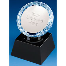"""Glass Crystal GOLF Trophy FREE ENGRAVING Personalised Engraved Award 3.25"""" 3.75"""""""