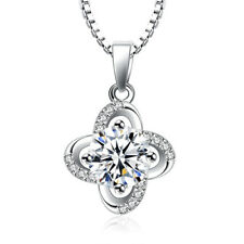 925 Sterling Silver Austrian Crystal Flower Pendant Necklace For Women Jewelry