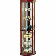 Brown 5 Shelf Corner Curio Cabinet Home Living Room Display Storage Furniture