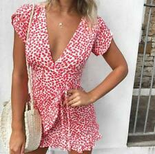Women Short Sleeve V Neck Polka Dots Print Ruffle Hem Tie Waist Slim Mini Dress