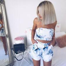 Women Wrapped Strapless Sleeveless Crop Top+Pocket Short Trousers Floral Twinset