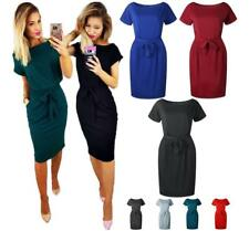 Women Scoop Neck Belted Wasit Short Sleeve Slim Fit Solid Knee Length Dress