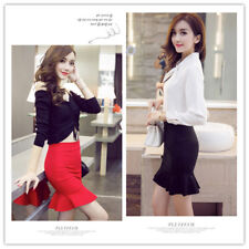 Women's Elastic Waist Flouncing Hem Bodycon Sheath Mermaid Flare Mini Skirt