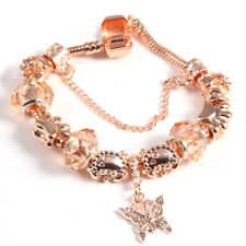 Beautiful Style 925 Rose Gold Charm Bracelet with Butterfly Crystal Ball Bead