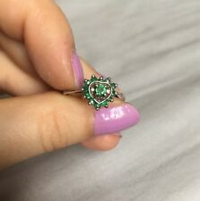 white gold, emerald and diamond accent ring UK SIZE N hallmarked NO RESERVE