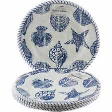 Tommy Bahama Nautical Seashell Dinner Plates Melamine Set of 4 Sea Life