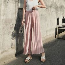 Women High Waist Pleated Wide Leg Solid Loose Casual Palazzo Pants