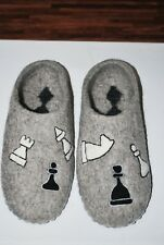 Felted 100% wool handcrafted slippers!!! Handmade! Chess