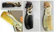 18cm Phoenix Dragon Design Natural Ox Horn Unisex Fine-toothed Comb