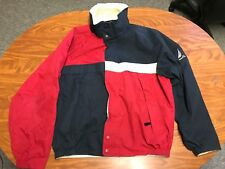 MENS VINTAGE NAUTICA RED AND NAVY BLUE ZIP UP REVERSIBLE SAILING JACKET LARGE