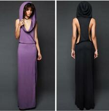 Women's Sexy Sleeveless Hooded Cut-out Hoodie Side High Slit Solid Maxi Dress