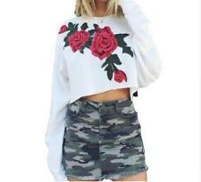 Women's Rose Embroidered Round Neck Long Sleeve Bottoming Crop Sweats Top Jumper