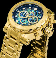 Invicta 52mm Coalition Force Chronograph Abalone Dial Gold Plated Bracelet Watch