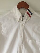 THOM BROWNE LONG SLEEVE SHIRT WITH GROSGRAIN PLACKET IN WHITE OXFORD (2)WORN ONC