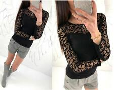 Women Floral Lace See Through Long Sleeve Crew Neck Slim Thin Shirt Blouse