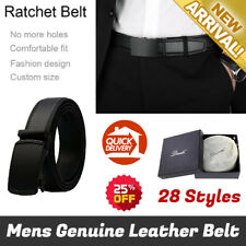 Genuine Leather Belt Dante Mens Leather Ratchet Dress Belt with Automatic Buckle