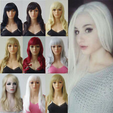 Pretty Women Ladies Full Wig With Bangs Long Straight Wavy Cosplay Party Hair Ui