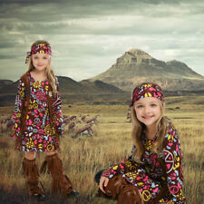 Girls Peace Love Bohemian Hippie Costume 60s Disco Dolly Fancy Dress Outfit
