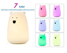 Cute Silicone Bear LED Kids Bed Night Light USB Rechargeable Tap Control 1200mAH