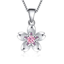 S925 Sterling Silver Crystal Flower Pendant Necklace Cherry Blossom For Women