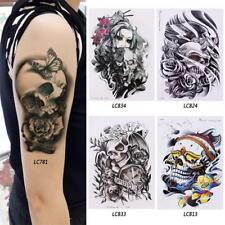 1 Removable Cool Skull Beauty Waterproof Arm Body Temporary Tattoo Stickers #X