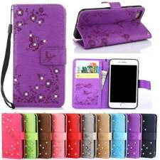 Butterfly Bling Diamond Pu Leather Flip Cover For Samsung Galaxy S8 Plus S7 S6 E