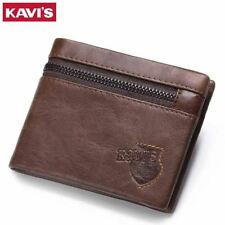 KAVIS Brand Crazy Horse Genuine Leather Wallet Men Wallets Coin Purse with Card