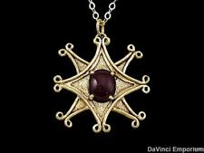 14k Yellow Gold Gemstone Compass Pendant Necklace