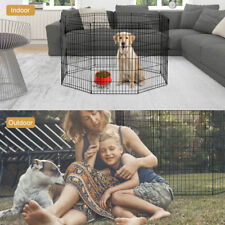 fence pet dog playpen exercise pen crate cage panel play 8 folding kennel gate 3