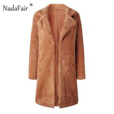 Nadafair Shaggy Long Fur Coat Women Autumn Spring Fluffy Teddy Coat Outerwear