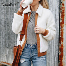 Nadafair Zipper Shaggy Fur Jacket Women Patchwork Faux Lambswool Outerwear Turn