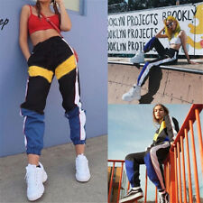 Summer Women's Casual Stitching Hit Color High Waist Beam Harem Pants Trousers