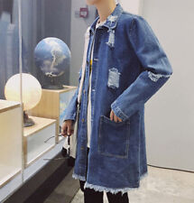 Fashion Mens Casual Jean Jacket Denim Loose Coats Blue Long Trench Outwear Parka